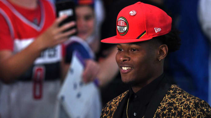 NEW YORK, NEW YORK - JUNE 20: Cam Reddish reacts after being drafted with the tenth overall pick by the Atlanta Hawks during the 2019 NBA Draft at the Barclays Center on June 20, 2019 in the Brooklyn borough of New York City. NOTE TO USER: User expressly acknowledges and agrees that, by downloading and or using this photograph, User is consenting to the terms and conditions of the Getty Images License Agreement. (Photo by Sarah Stier/Getty Images)