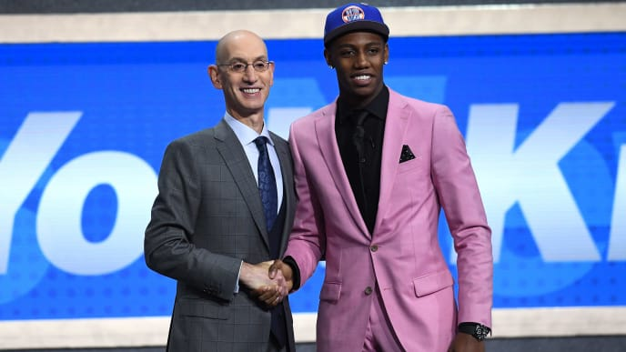NEW YORK, NEW YORK - JUNE 20: RJ Barrett poses with NBA Commissioner Adam Silver after being drafted with the third overall pick by the New York Knicks during the 2019 NBA Draft at the Barclays Center on June 20, 2019 in the Brooklyn borough of New York City. NOTE TO USER: User expressly acknowledges and agrees that, by downloading and or using this photograph, User is consenting to the terms and conditions of the Getty Images License Agreement. (Photo by Sarah Stier/Getty Images)