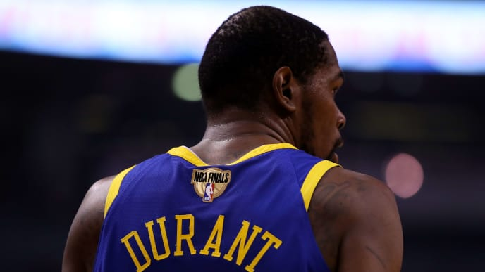 TORONTO, ONTARIO - JUNE 10:  Kevin Durant #35 of the Golden State Warriors looks on against the Toronto Raptors in the first half during Game Five of the 2019 NBA Finals at Scotiabank Arena on June 10, 2019 in Toronto, Canada. NOTE TO USER: User expressly acknowledges and agrees that, by downloading and or using this photograph, User is consenting to the terms and conditions of the Getty Images License Agreement. (Photo by Gregory Shamus/Getty Images)