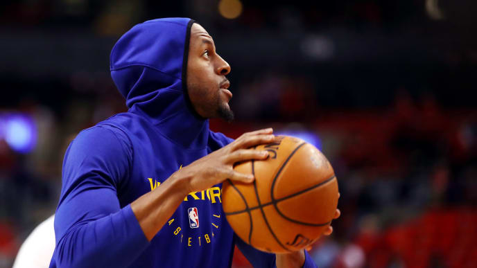 TORONTO, ONTARIO - JUNE 10: Andre Iguodala #9 of the Golden State Warriors warms up before Game Five of the 2019 NBA Finals against the Toronto Raptors at Scotiabank Arena on June 10, 2019 in Toronto, Canada. NOTE TO USER: User expressly acknowledges and agrees that, by downloading and or using this photograph, User is consenting to the terms and conditions of the Getty Images License Agreement. (Photo by Gregory Shamus/Getty Images)