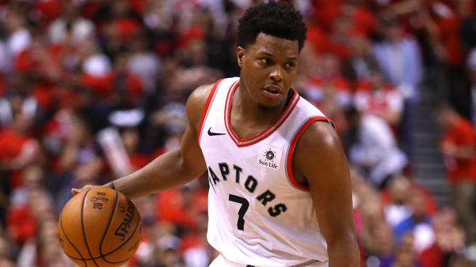 TORONTO, ONTARIO - JUNE 10:  Kyle Lowry #7 of the Toronto Raptors handles the ball on offense against the Golden State Warriors in the second half during Game Five of the 2019 NBA Finals at Scotiabank Arena on June 10, 2019 in Toronto, Canada. NOTE TO USER: User expressly acknowledges and agrees that, by downloading and or using this photograph, User is consenting to the terms and conditions of the Getty Images License Agreement. (Photo by Gregory Shamus/Getty Images)