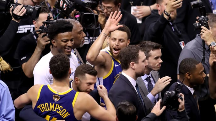 TORONTO, ONTARIO - JUNE 10:  Stephen Curry #30 of the Golden State Warriors celebrates his teams 106-105 win over the Toronto Raptors in Game Five of the 2019 NBA Finals at Scotiabank Arena on June 10, 2019 in Toronto, Canada. NOTE TO USER: User expressly acknowledges and agrees that, by downloading and or using this photograph, User is consenting to the terms and conditions of the Getty Images License Agreement. (Photo by Claus Andersen/Getty Images)