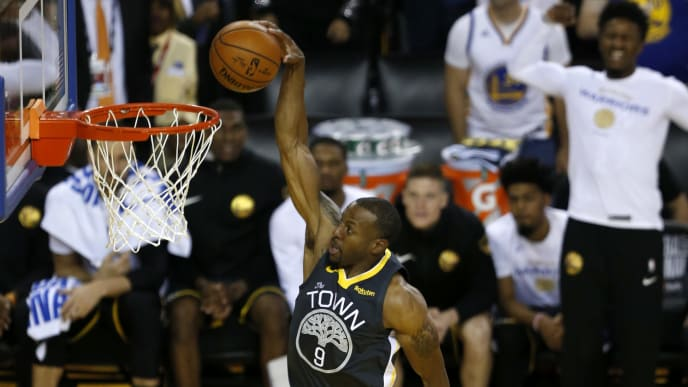 OAKLAND, CALIFORNIA - JUNE 07:  Andre Iguodala #9 of the Golden State Warriors dunks the ball against the Toronto Raptors during Game Four of the 2019 NBA Finals at ORACLE Arena on June 07, 2019 in Oakland, California. NOTE TO USER: User expressly acknowledges and agrees that, by downloading and or using this photograph, User is consenting to the terms and conditions of the Getty Images License Agreement. (Photo by Lachlan Cunningham/Getty Images)