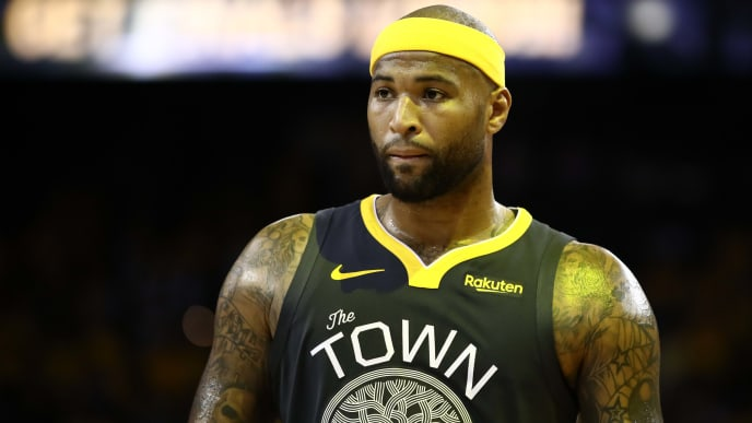 OAKLAND, CALIFORNIA - JUNE 13:  DeMarcus Cousins #0 of the Golden State Warriors reacts against the Toronto Raptors in the second half during Game Six of the 2019 NBA Finals at ORACLE Arena on June 13, 2019 in Oakland, California. NOTE TO USER: User expressly acknowledges and agrees that, by downloading and or using this photograph, User is consenting to the terms and conditions of the Getty Images License Agreement. (Photo by Ezra Shaw/Getty Images)