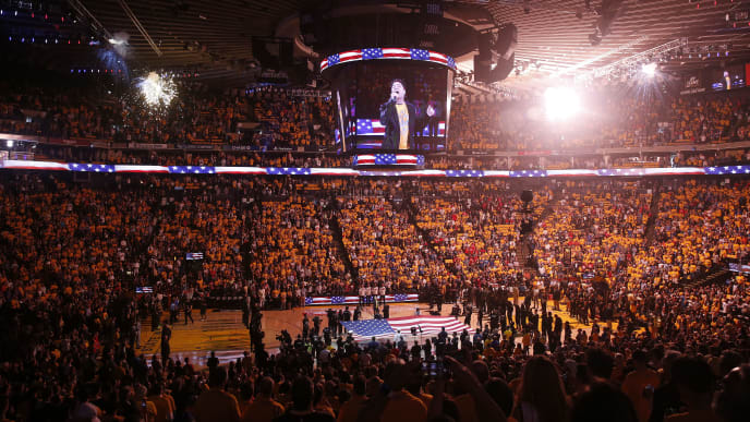 OAKLAND, CALIFORNIA - JUNE 13:  A general view as singer-songwriter Patrick Monahan performs the American national anthem prior to Game Six of the 2019 NBA Finals between the Golden State Warriors and the Toronto Raptors at ORACLE Arena on June 13, 2019 in Oakland, California. NOTE TO USER: User expressly acknowledges and agrees that, by downloading and or using this photograph, User is consenting to the terms and conditions of the Getty Images License Agreement. (Photo by Lachlan Cunningham/Getty Images)