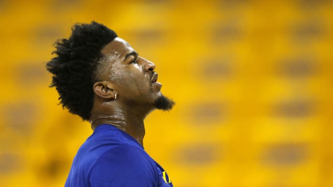 OAKLAND, CALIFORNIA - JUNE 05: Jordan Bell #2 of the Golden State Warriors warms up prior to Game Three of the 2019 NBA Finals at ORACLE Arena on June 05, 2019 in Oakland, California. NOTE TO USER: User expressly acknowledges and agrees that, by downloading and or using this photograph, User is consenting to the terms and conditions of the Getty Images License Agreement. (Photo by Lachlan Cunningham/Getty Images)