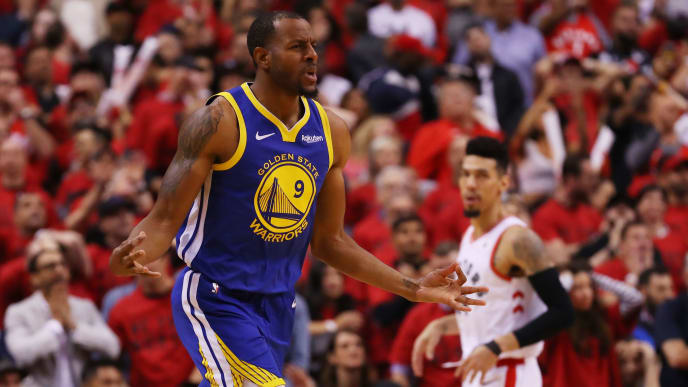 TORONTO, ONTARIO - JUNE 02:  Andre Iguodala #9 of the Golden State Warriors celebrates a basket late in the game against the Toronto Raptors during Game Two of the 2019 NBA Finals at Scotiabank Arena on June 02, 2019 in Toronto, Canada.  NOTE TO USER: User expressly acknowledges and agrees that, by downloading and or using this photograph, User is consenting to the terms and conditions of the Getty Images License Agreement. (Photo by Gregory Shamus/Getty Images)