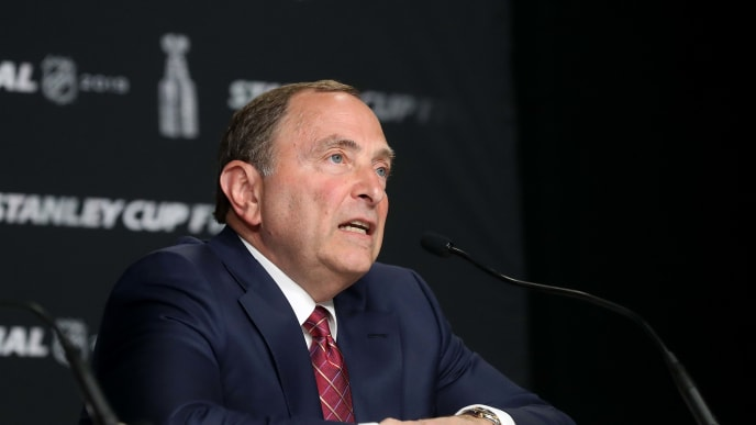BOSTON, MASSACHUSETTS - MAY 27: NHL Commissioner Gary Bettman speaks during a press conference prior to Game One of the 2019 NHL Stanley Cup Final between the Boston Bruins and the St. Louis Blues at TD Garden on May 27, 2019 in Boston, Massachusetts. (Photo by Bruce Bennett/Getty Images)