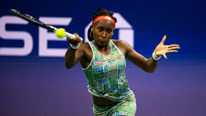 NEW YORK, NEW YORK - AUGUST 31: Cori Gauff of the United States hits a forehand against Naomi Osaka of Japan in the third round on Arthur Ashe Stadium at the USTA Billie Jean King National Tennis Center on August 31, 2019 in New York City. (Photo by TPN/Getty Images)