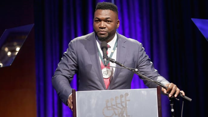 NEW YORK, NY - SEPTEMBER 25:  David Ortiz speaks onstage during the 32nd Annual Great Sports Legends Dinner To Benefit The Miami Project/Buoniconti Fund To Cure Paralysis at New York Hilton Midtown on September 25, 2017 in New York City.  (Photo by Thos Robinson/Getty Images for The Buoniconti Fund to Cure Paralysis )