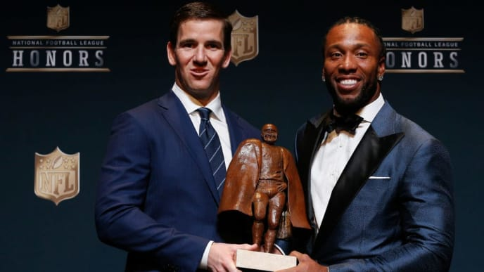 HOUSTON, TX - FEBRUARY 04:  Eli Manning and Larry Fitzgerald were named Co-Winner of the Walter Payton NFL Man of the Year presented by Nationwide at the NFL Honors at Wortham Theater Center on February 4, 2017 in Houston, Texas.  (Photo by Bob Levey/Getty Images)