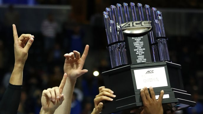NEW YORK, NY - MARCH 11:  The Duke Blue Devils hold up the trophy after defeating the Notre Dame Fighting Irish 75-69 in the championship game of the 2017 Men's ACC Basketball Tournament at the Barclays Center on March 11, 2017 in New York City.  (Photo by Al Bello/Getty Images)