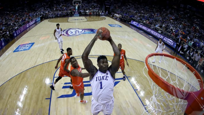 CHARLOTTE, NORTH CAROLINA - MARCH 14: Zion Williamson #1 of the Duke Blue Devils dunks the ball against the Syracuse Orange during their game in the quarterfinal round of the 2019 Men's ACC Basketball Tournament at Spectrum Center on March 14, 2019 in Charlotte, North Carolina. (Photo by Streeter Lecka/Getty Images)