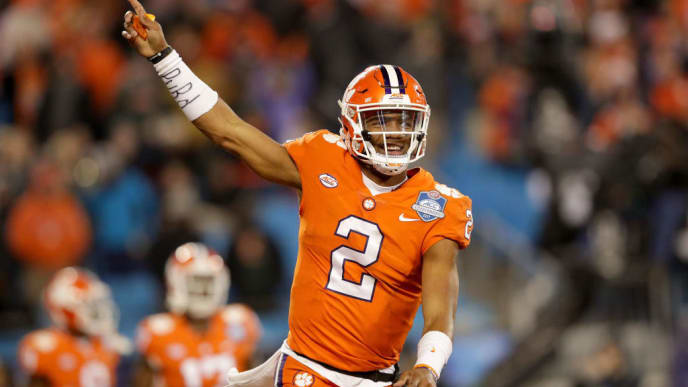 CHARLOTTE, NC - DECEMBER 02:  Kelly Bryant #2 of the Clemson Tigers reacts after a touchdown against the Miami Hurricanes in the third quarter during the ACC Football Championship at Bank of America Stadium on December 2, 2017 in Charlotte, North Carolina.  (Photo by Streeter Lecka/Getty Images)