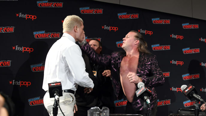 NEW YORK, NEW YORK - OCTOBER 04: (L-R) Cody Rhodes and Chris Jericho face off at the All Elite Wrestling panel during 2019 New York Comic Con at Jacob Javits Center on October 04, 2019 in New York City. (Photo by Noam Galai/Getty Images for WarnerMedia Company)