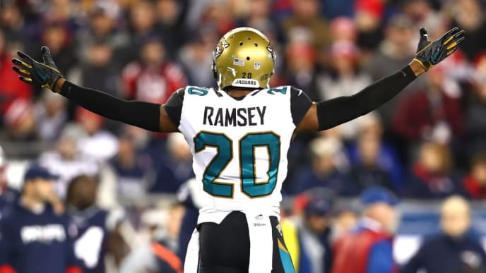 FOXBOROUGH, MA - JANUARY 21: Jalen Ramsey #20 of the Jacksonville Jaguars reacts during the second half of the AFC Championship Game against the New England Patriots at Gillette Stadium on January 21, 2018 in Foxborough, Massachusetts.  (Photo by Adam Glanzman/Getty Images)