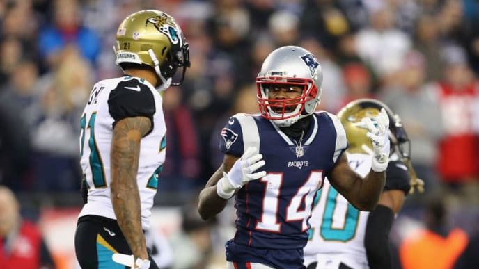 FOXBOROUGH, MA - JANUARY 21: Brandin Cooks #14 of the New England Patriots reacts with A.J. Bouye #21 of the Jacksonville Jaguars in the second half during the AFC Championship Game at Gillette Stadium on January 21, 2018 in Foxborough, Massachusetts.  (Photo by Adam Glanzman/Getty Images)