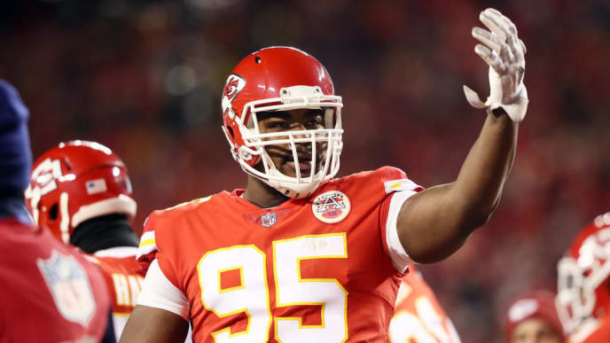 KANSAS CITY, MISSOURI - JANUARY 20: Chris Jones #95 of the Kansas City Chiefs gestures in the first half against the New England Patriots during the AFC Championship Game at Arrowhead Stadium on January 20, 2019 in Kansas City, Missouri. (Photo by Jamie Squire/Getty Images)