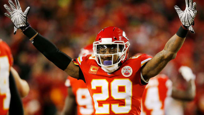 KANSAS CITY, MISSOURI - JANUARY 20: Eric Berry #29 of the Kansas City Chiefs reacts after a play in the fourth quarter against the New England Patriots during the AFC Championship Game at Arrowhead Stadium on January 20, 2019 in Kansas City, Missouri. (Photo by David Eulitt/Getty Images)