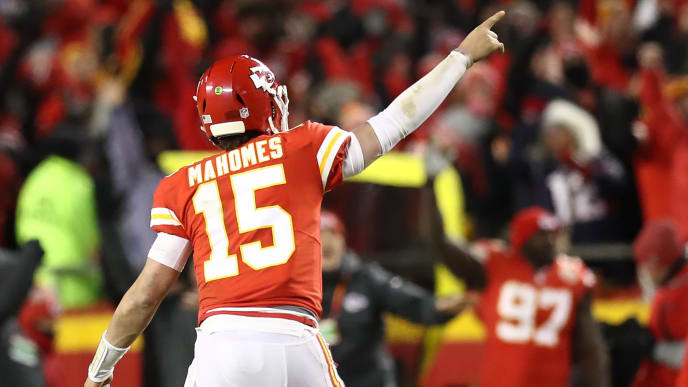 KANSAS CITY, MISSOURI - JANUARY 20: Patrick Mahomes #15 of the Kansas City Chiefs gestures in the second half against the New England Patriots during the AFC Championship Game at Arrowhead Stadium on January 20, 2019 in Kansas City, Missouri. (Photo by Ronald Martinez/Getty Images)