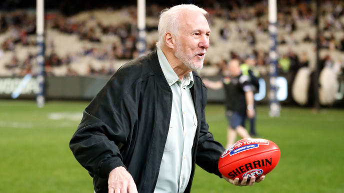 MELBOURNE, AUSTRALIA - AUGUST 23: Gregg Popovich, Coach of Team USA Basketball is seen during the 2019 AFL round 23 match between the Collingwood Magpies and the Essendon Bombers at the Melbourne Cricket Ground on August 23, 2019 in Melbourne, Australia. (Photo by Michael Willson/AFL Photos via Getty Images)