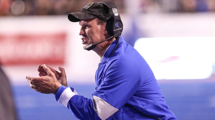 BOISE, ID - SEPTEMBER 20: Head Coach Troy Calhoun of the Air Force Falcons encourages his team during second half action against the Boise State Broncos on September 20, 2019 at Albertsons Stadium in Boise, Idaho. Boise State won the game 30-19. (Photo by Loren Orr/Getty Images)
