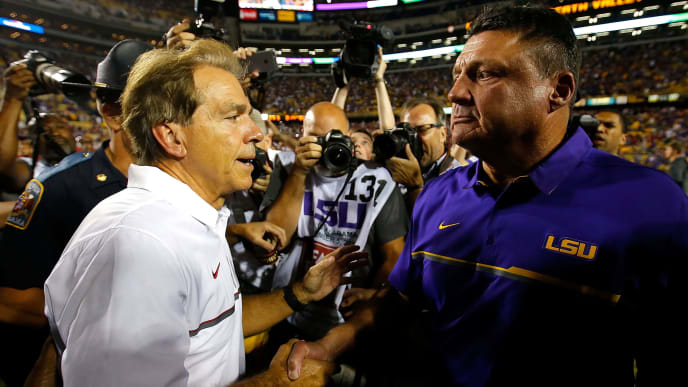 BATON ROUGE, LA - NOVEMBER 05:  Head coach Nick Saban of the Alabama Crimson Tide shakes hands with head coach Ed Orgeron of the LSU Tigers after their 10-0 win at Tiger Stadium on November 5, 2016 in Baton Rouge, Louisiana.  (Photo by Kevin C. Cox/Getty Images)