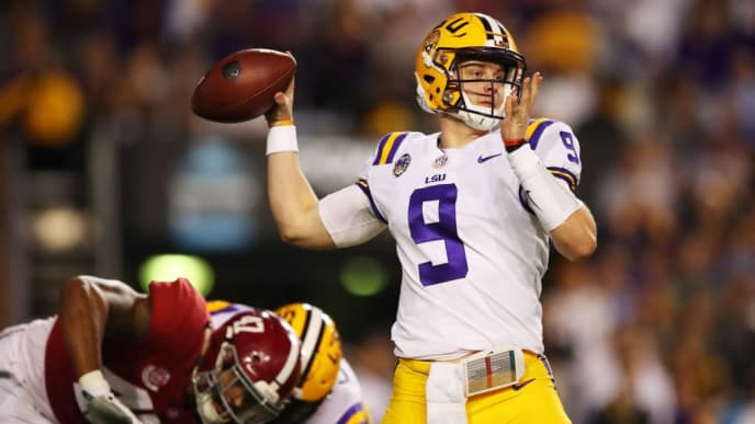 BATON ROUGE, LOUISIANA - NOVEMBER 03: Joe Burrow #9 of the LSU Tigers looks to pass in the first half against the Alabama Crimson Tide of their game at Tiger Stadium on November 03, 2018 in Baton Rouge, Louisiana. (Photo by Gregory Shamus/Getty Images)