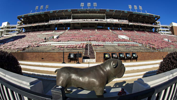 FAYETTEVILLE, AR - NOVEMBER 9:   Bulldog statue in front of the stands before a game between the Mississippi State Bulldogs and the Alabama Crimson Tide at Davis Wade Stadium on November 16, 2019 in Starkville, Mississippi.  (Photo by Wesley Hitt/Getty Images)