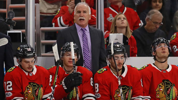 CHICAGO, IL - NOVEMBER 27:  Head coach Joel Quenneville of the Chicago Blackhawks watches as his team takes on the Anaheim Ducks at the United Center on November 27, 2017 in Chicago, Illinois. The Blackhawks defeated the Ducks 7-3.  (Photo by Jonathan Daniel/Getty Images)