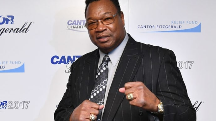 NEW YORK, NY - SEPTEMBER 11:  Boxer Larry Holmes participates in Annual Charity Day hosted by Cantor Fitzgerald, BGC and GFI at Cantor Fitzgerald on September 11, 2017 in New York City.  (Photo by Dia Dipasupil/Getty Images for Cantor Fitzgerald)