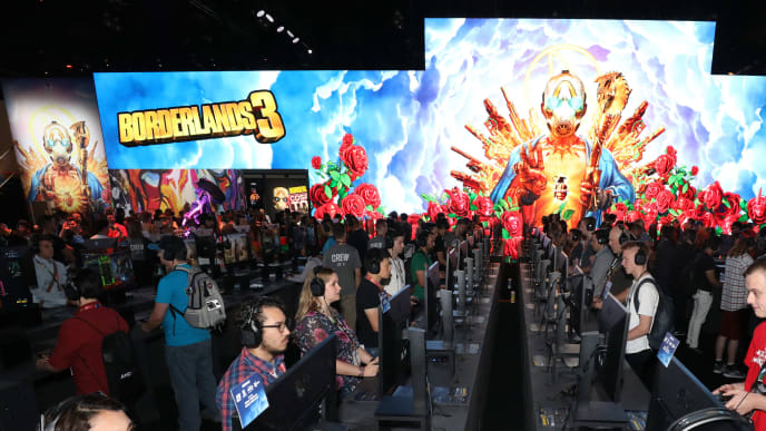 LOS ANGELES, CALIFORNIA - JUNE 11:   Game enthusiasts and industry personnel play 'Borderlands 3' during the E3 Video Game Convention at the Los Angeles Convention Center on June 11, 2019 in Los Angeles, California. (Photo by Christian Petersen/Getty Images)