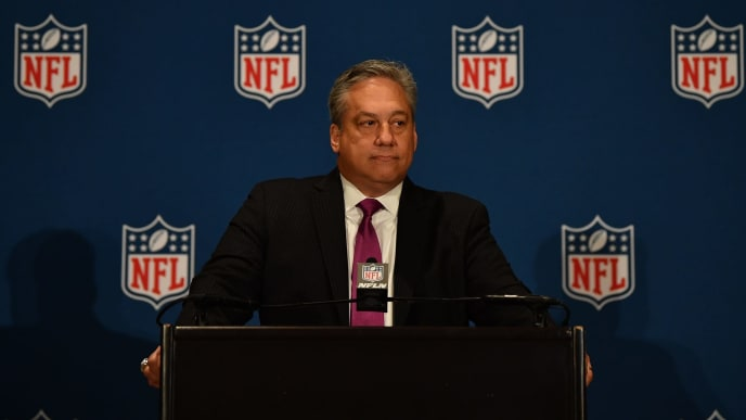 ORLANDO, FL - MARCH 26:  NFL Vice President of Officiating Alberto Riveron speaks during a press conference regarding rule changes at the 2018 NFL Annual Meetings at the Ritz Carlton Orlando, Great Lakes on March 26, 2018 in Orlando, Florida. (Photo by B51/Mark Brown/Getty Images)
