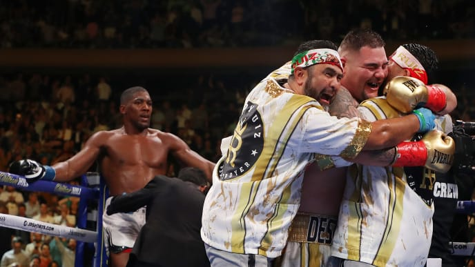 NEW YORK, NEW YORK - JUNE 01:  Andy Ruiz Jr celebrates his seventh round tko against  Anthony Joshua after their IBF/WBA/WBO heavyweight title fight at Madison Square Garden on June 01, 2019 in New York City. (Photo by Al Bello/Getty Images)
