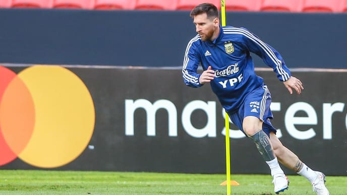 PORTO ALEGRE, BRAZIL - JUNE 22: Lionel Messi during a training session at Beira-Rio stadium on June 22, 2019, in Porto Alegre, Brazil. (Photo by Lucas Uebel/Getty Images)