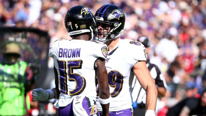 BALTIMORE, MD - SEPTEMBER 15: Marquise Brown #15 of the Baltimore Ravens celebrates a catch with teammate Mark Andrews #89 against the Arizona Cardinals during the second half at M&T Bank Stadium on September 15, 2019 in Baltimore, Maryland. (Photo by Dan Kubus/Getty Images)