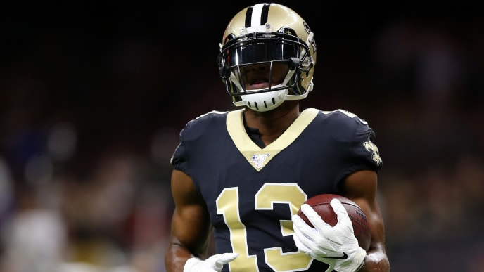 NEW ORLEANS, LOUISIANA - OCTOBER 27: Michael Thomas #13 of the New Orleans Saints in action during a game against the Arizona Cardinals at the Mercedes Benz Superdome on October 27, 2019 in New Orleans, Louisiana. (Photo by Jonathan Bachman/Getty Images)