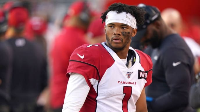 SANTA CLARA, CALIFORNIA - NOVEMBER 17: Kyler Murray #1 of the Arizona Cardinals looks on against the San Francisco 49ers during the second half of an NFL football game at Levi's Stadium on November 17, 2019 in Santa Clara, California. (Photo by Thearon W. Henderson/Getty Images)