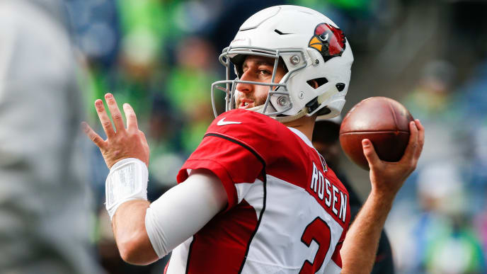 SEATTLE, WA - DECEMBER 30: Josh Rosen #3 of the Arizona Cardinals warms-up before the game against the Seattle Seahawks at CenturyLink Field on December 30, 2018 in Seattle, Washington. (Photo by Otto Greule Jr/Getty Images)