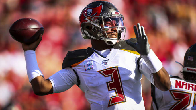 TAMPA, FL - NOVEMBER 10: Jameis Winston #3 of the Tampa Bay Buccaneers drops back to pass during the game against the Arizona Cardinals on November 10, 2019 at Raymond James Stadium in Tampa, Florida. The Tampa Bay Buccaneers defeated the Arizona Cardinals 30 - 27. (Photo by Will Vragovic/Getty Images)