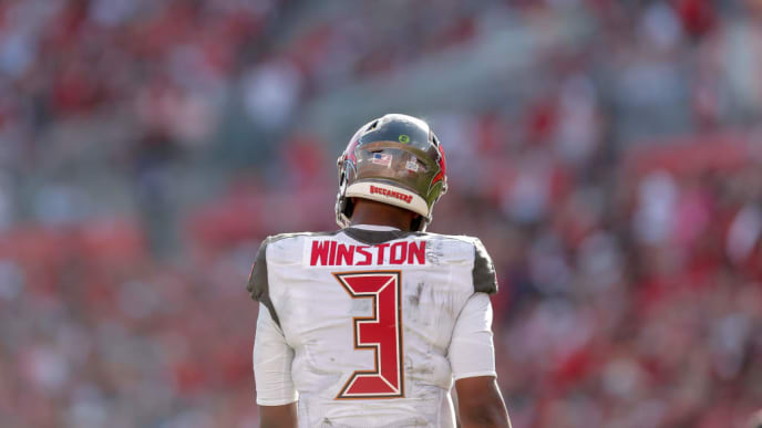 TAMPA, FL - NOVEMBER 10: A back view of Quarterack Jameis Winston #3 of the Tampa Bay Buccaneers during the game against the Arizona Cardinals at Raymond James Stadium on November 10, 2019 in Tampa, Florida. The Buccaneers defeated The Cardinals 30 to 27. (Photo by Don Juan Moore/Getty Images)