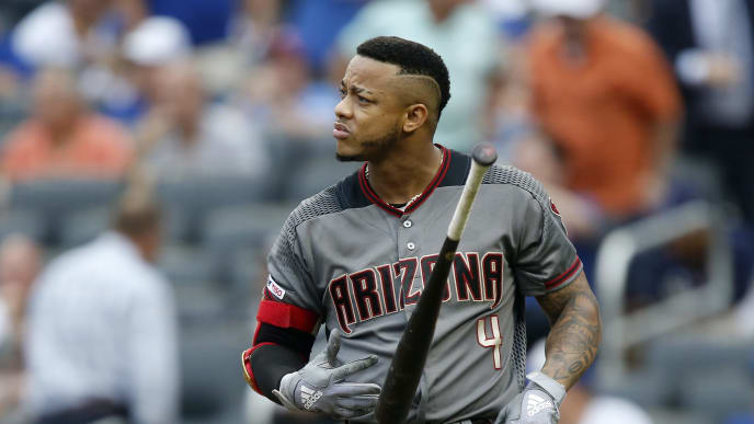 NEW YORK, NEW YORK - SEPTEMBER 12:   Ketel Marte #4 of the Arizona Diamondbacks tosses his bat after striking out to end the fifth inning against the New York Mets at Citi Field on September 12, 2019 in New York City. (Photo by Jim McIsaac/Getty Images)