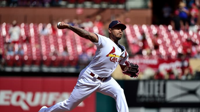 ST LOUIS, MO - JULY 14: Carlos Martinez #18 of the St. Louis Cardinals pitches during the ninth inning against the Arizona Diamondbacks at Busch Stadium on July 14, 2019 in St Louis, Missouri. (Photo by Jeff Curry/Getty Images)