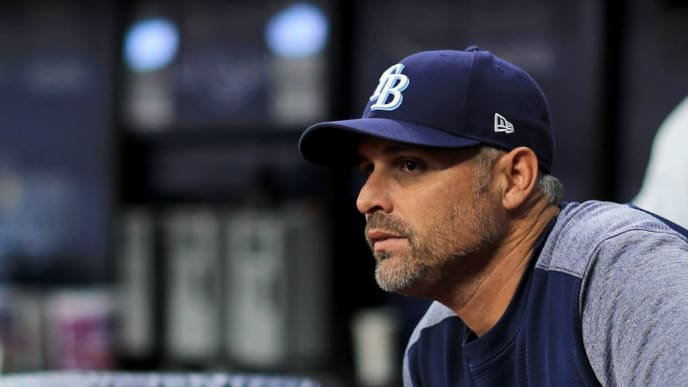 ST PETERSBURG, FLORIDA - MAY 06: Manager Kevin Cash #16 of the Tampa Bay Rays looks on during a game against the Arizona Diamondbacks at Tropicana Field on May 06, 2019 in St Petersburg, Florida. (Photo by Mike Ehrmann/Getty Images)