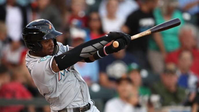 SURPRISE, AZ - NOVEMBER 03:  AFL East All-Star, Monte Harrison #4 of the Miami Marlins bats during the Arizona Fall League All Star Game at Surprise Stadium on November 3, 2018 in Surprise, Arizona.  (Photo by Christian Petersen/Getty Images)