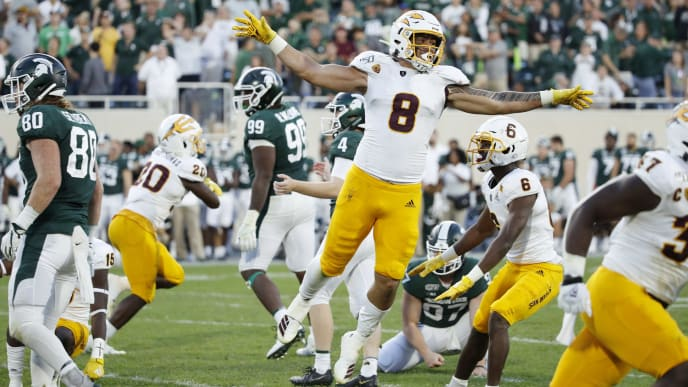 EAST LANSING, MI - SEPTEMBER 14: Merlin Robertson #8 of the Arizona State Sun Devils celebrates after a missed field goal by the Michigan State Spartans as time expired in the game at Spartan Stadium on September 14, 2019 in East Lansing, Michigan. Arizona State defeated Michigan State 10-7. (Photo by Joe Robbins/Getty Images)
