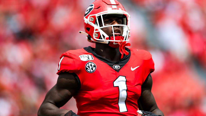 ATHENS, GA - SEPTEMBER 14: George Pickens #1 of the Georgia Bulldogs looks on during the game against the Arkansas State Red Wolves at Sanford Stadium on September 14, 2019 in Athens, Georgia. (Photo by Carmen Mandato/Getty Images)