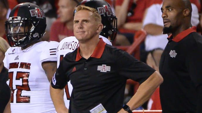 LINCOLN, NE - SEPTEMBER 02: Head coach Blake Anderson of the Arkansas State Red Wolves watches action against the Nebraska Cornhuskers at Memorial Stadium on September 2, 2017 in Lincoln, Nebraska. (Photo by Steven Branscombe/Getty Images)