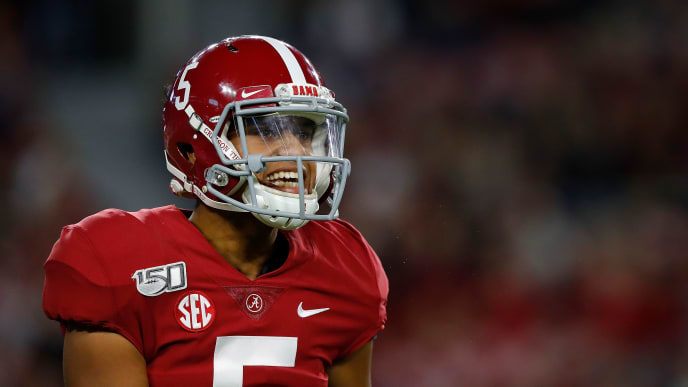 TUSCALOOSA, ALABAMA - OCTOBER 26:  Taulia Tagovailoa #5 of the Alabama Crimson Tide yells to the sidelines during the second half against the Arkansas Razorbacks at Bryant-Denny Stadium on October 26, 2019 in Tuscaloosa, Alabama. (Photo by Kevin C. Cox/Getty Images)