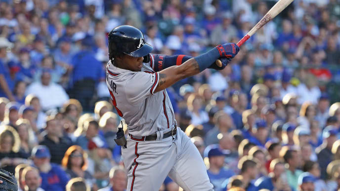 CHICAGO, ILLINOIS - JUNE 24: Ronald Acuna Jr. #13 of the Atlanta Braves bats against the Chicago Cubs at Wrigley Field on June 24, 2019 in Chicago, Illinois. (Photo by Jonathan Daniel/Getty Images)